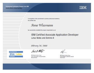 IBM Certified Associate Application Developer Lotus Notes and Domino 8